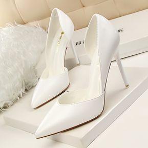 a9ae1e4e579 Zapatos De Tacones Altos De Moda Bombas De Mujer-Blanco