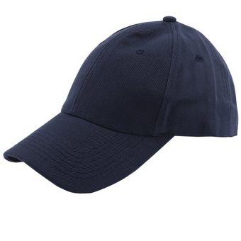 Sombrero De Lona Lavable Ajustable Gorra Visera De Color Sólido Hombre Mujer  Sombrero Azul Marino 20eb20b70b8
