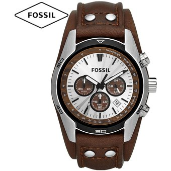 9baac395707e Reloj Fossil Coachman CH2565 Cronometro Acero Correa De Cuero - Marrón  Blanco