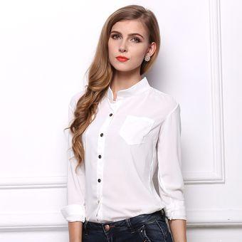 14d9e141ff Compra Blusa De Gasa Para Mujer Manga Larga Camisa De Oficina online ...