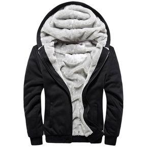 387a1dddb91a EY Engrosamiento De La Capa Con Capucha De Terciopelo Color Sólido Slim  Casual Para Hombres Outwear
