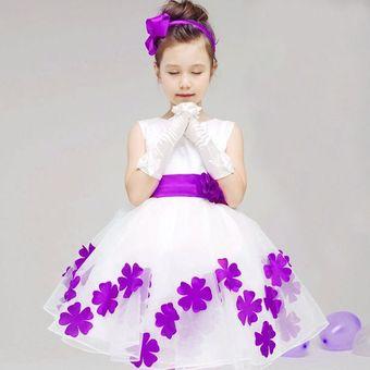 Vestidos Florales Para Chicas Sin Mangas Niñas Ropa Blanca Vestido De Fiesta De La Princesa Púrpura