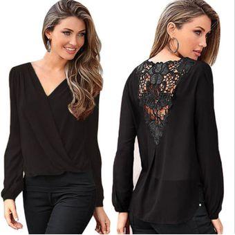 e564d2aea09 Mujer Blusa Camisa Mangas Largas Cuello V con encaje en Espalda color Negro