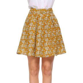 4fbb5ee79e Mujer Casual Prints Alta Cintura A-Line Falda -Amarillo