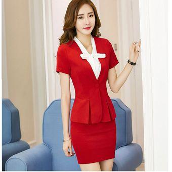 5ca9b3015 Trajes Para Mujer Faldas Y Sacos Formales De Oficina Y Negocio - Rojo