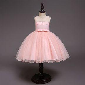 ce1bb52c Nuevo vestido chica hueco bordado vestido de princesa - Rosa