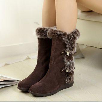 c010320b 2017 La nieve Fur arranque cálido invierno Ronda Toe Rodillas zapatos  antideslizantes