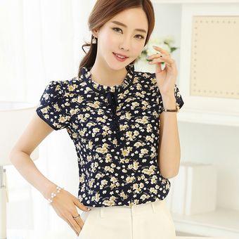 382a3fa5cf000 Blusas Dama Blusa De Gasa Con Estampado Floral De Verano Blusas Mujer