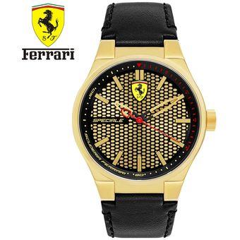 768ca6401442 Reloj Ferrari Speciale 0830415 Acero Inoxidable Correa De Cuero - Negro  Dorado