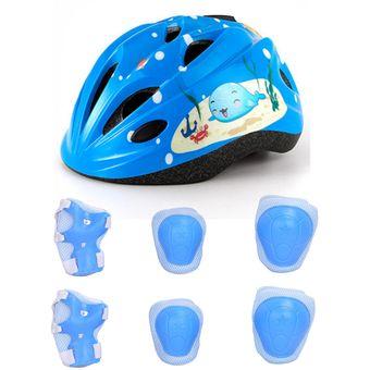 4c5dda57234 7Pcs Casco Para Niños Protección Deportiva Juego De Cuerpo Protector Para  Patinaje -Azul M