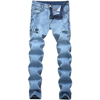 7132a99bbf Compra Biker Stretch Para Hombres Pantalones Skinny Denim Slim Jeans ...