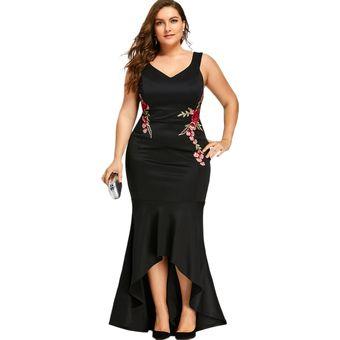Wipalo Rosas Bordadas Sirena De Talla Grande 5xl Maxi Vestido Negro Sexy Tanque V Cue Purpura Linio Peru Un055fa06as42lpe