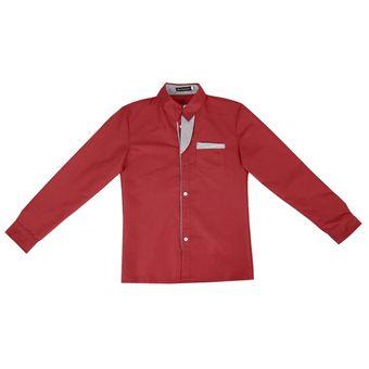 87de4c4269 Hombres Camiseta Slim Fit Camisa Algodón Rayas Camisa Manga Larga Hombres  Camisas De Modelo - Rojo