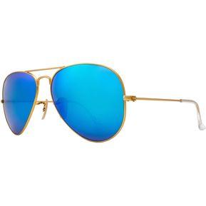 86e1d3112 Lentes Ray-Ban Aviador Dorado; Azul Espejo