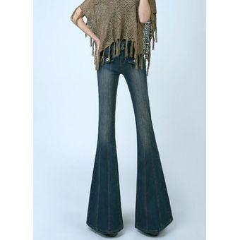 fd3f6950b68a Cintura Alta Pantalones Vaqueros De Campana Mujer Suelto Mom Flare Jeans