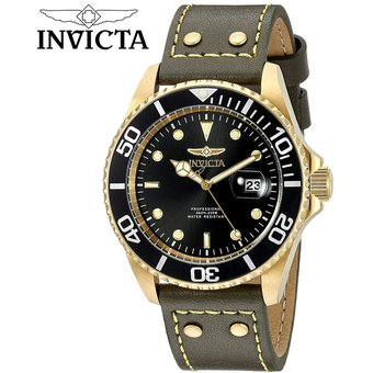 8151c712d564 Reloj Invicta Pro Diver 22075 Fecha Acero Inoxidable Correa de Cuero – Verde