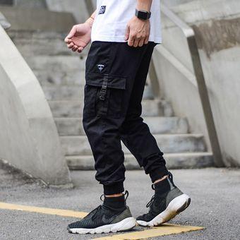 Americano Streetwear De Los Hombres De La Moda De Pantalones Sueltos Fit Bolsillo Grande Casual Pantalones De Carga De Alta Calidad Color Caqui Hip Hop Pantalones Los Hombres Wan Black Linio Peru