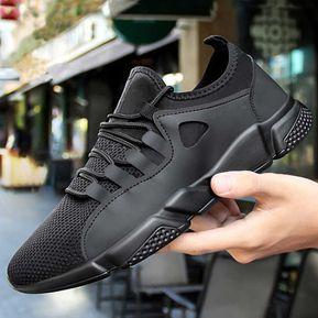 brand new 91aff 5853a Zapatos Deportivos Hombre Corree Transpirable Zapatos De Tela-negro