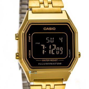 Negra Casio Reloj La680 Cara Vintage Negativo Dorado Dama gv7yYfb6