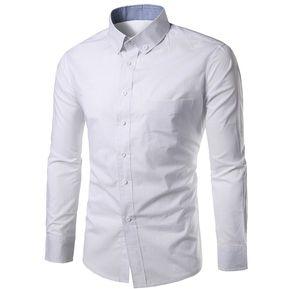Camisa casual abotonada con botones (Blanco) b7414be2873