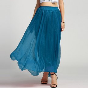 Maxi Vestido Largo Bohemio De Gasa Shinning Para Mujer - Verde Oscuro 825ddbc0a46