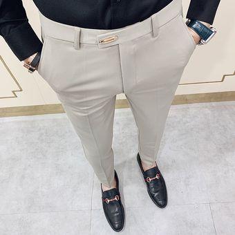 Casual Slim Fit Mens Vestir Pantalones Traje De Calle Pantalones Hombres 34 Alta Calidad Caballeros Pantalones De Oficina Hombres Todos Coinciden Con La Longitud Del Tobillo Xyx Khaki Linio Peru Ge582fa0srqaflpe