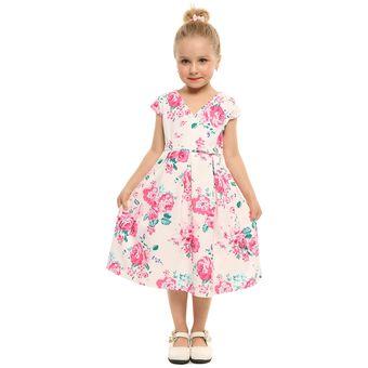 8301797ab Compra Vestido Estampado Flores para niña-Blanco online | Linio Chile