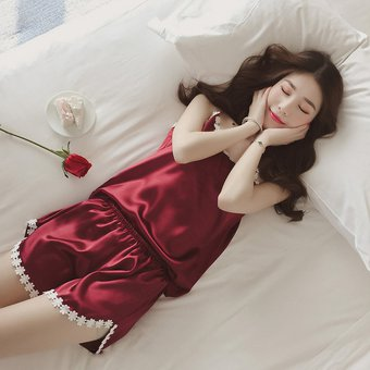 516dd439ce Blusa De Noche De Seda Suave Hielo Mujer + Shorts Conjunto Pijamas - Rojo  (XL