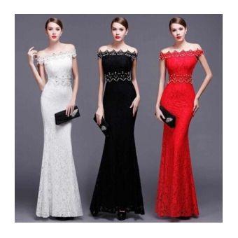 ae4134bae largo vestido para fiesta de estilo elegante y sexy con hombro especial de  encaje de color