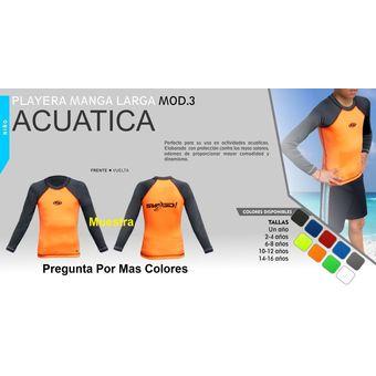 Compra Playera Acuatica - Manga Larga - Niño Mod3 Naranja online ... f00e63fae4ed6