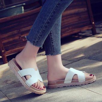 c7a9c292da3 Agotado Moda Verano zapatillas gruesas suela suave Casual sandalias calzado  femenino Blanco