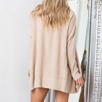 Suéteres abiertos largo de color solido para mujer - Albaricoque 50df659fa0fb