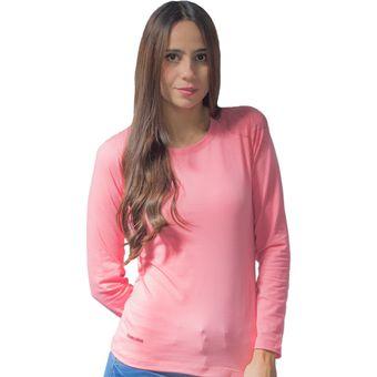 d50c772876 Blusa Color Rosado Bocared Manga Larga Cuello Redondo Para Dama En Jersey  Licra Isis