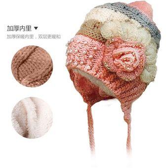 Agotado Gorro Crochet lana con Perlas y brillos interior acolchado polar  Para Bebe Otoño Invierno Ropa para 828130a2e11
