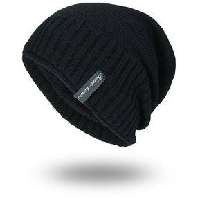 Estilo Coreano Hombre Mujer Invierno Color Sólido Beanie Hat Unisex Tejido  Liso Cap Negro c81f2dadb93