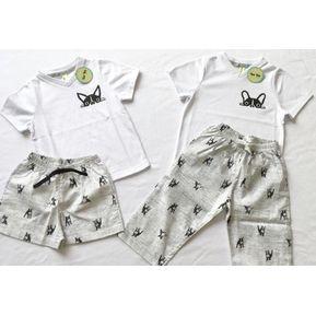 506152fd80 Pijama Niño    Short y Camiseta Cuello V    Gris y Blanco
