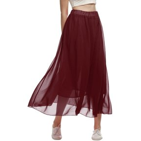 Falda Larga Plisado Para Mujer-Rojo De Vino 6b5895b7b702