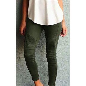 bff4da3df2 Pantalones Skinny Para Mujer De Ocio Y Elástico - Verde Militar