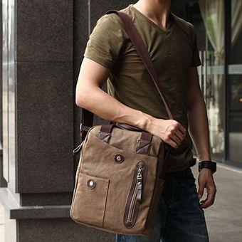 Negocios casual bolso de lona para hombre Café