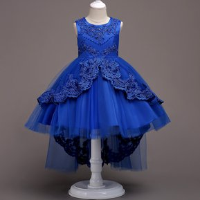 Vestido sin mangas bordado encaje niños - Azul oscuro 7482ddbe5e8b
