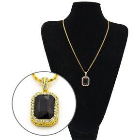 54e7433a072c Hip Hop colgante collar de diamante colorido GEM twist para hombres