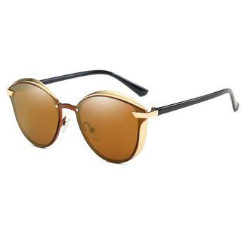 10a14d9dce P0824 Mujeres Moda Retro Marco Redondo De Metal UV400 Gafas De Sol  Polarizadas (Brown)