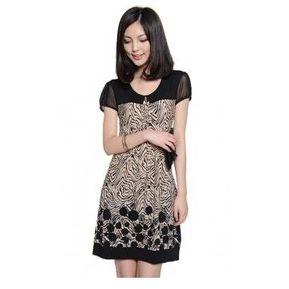 Vestido Casual Manga Corta Estampado Encaje Floral Para Mujer-Negro Con  Beige e1249bcf54ed