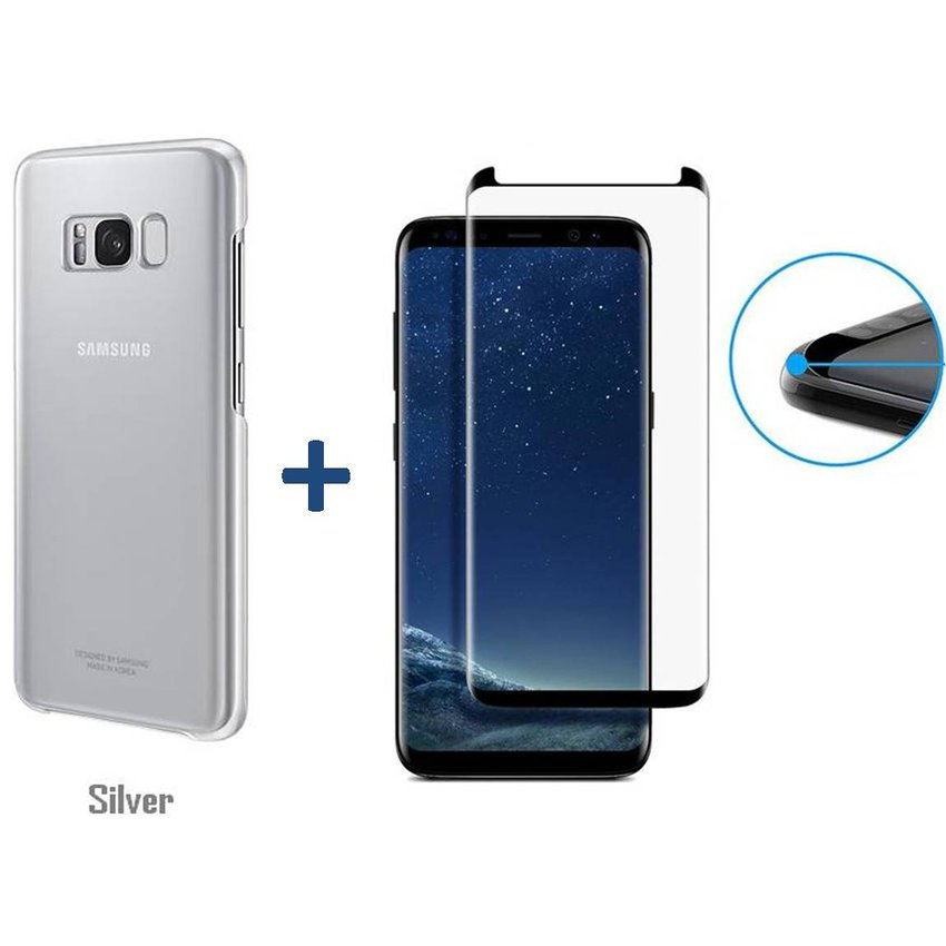 Samsung - Pack Protector Case Clear Protective Cover Oficial Samsung Galaxy + Vidrio Templado 3D Glass Compatible S8 (5.8