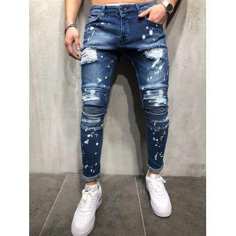a47d1db0 Tallas grandes Jeans rotos Hombres Skinny Jeans ajustados Slim Fit