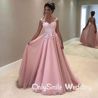 Una Línea Elegante Vestido De Noche 2019 Cariño Traje Con Apliques D