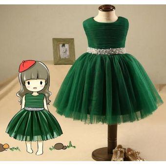 Niña Princesa Mayor Falda Flor Chica Vestido Verde