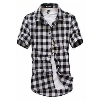 61f0582e25 Camisa A Cuadros De Verano De Manga Corta Para Hombres Camisas A Cuadros