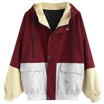 8b70aba4f3ef Compra ZAFUL-Chaqueta de pana con capucha en color block-Rojo cereza ...