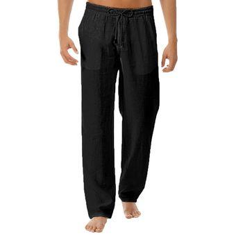 Pantalones De Hilo De Algodon Para Hombre Moda De Verano Del Pantalones Holgados Blancos Rectos De Color Solido A La Moda Pantalones Elasticos De Cintura De Talla Grande Wot Black Linio Peru